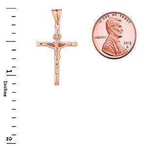 Crucifix Cross (INRI) Pendant Necklace in Rose Gold