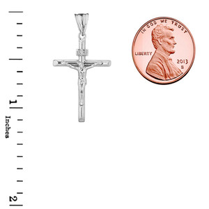 Crucifix Cross (INRI) Pendant Necklace in White Gold