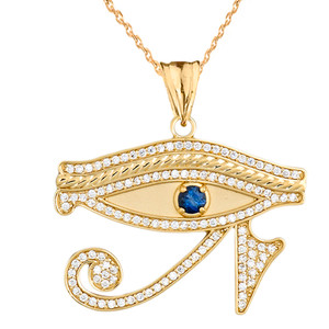 Diamond Eye of Horus with Genuine Blue Sapphire Pendant Necklace in Yellow Gold
