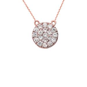 14K Mini Diamond Disc Necklace in Rose Gold