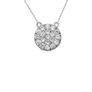 14K Mini Diamond Disc Necklace in White Gold