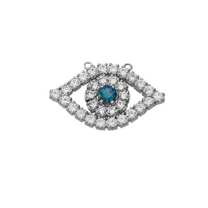 14K Diamond and Sapphire Evil Eye Necklace in White Gold