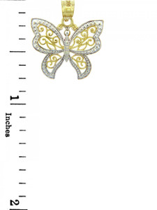 Two-Tone White Gold Butterfly Charm Pendant