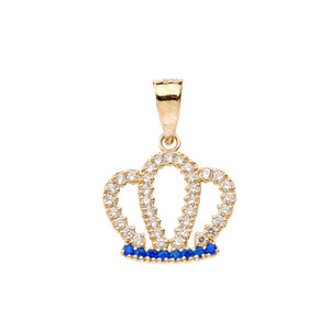 Solid Yellow Gold Radiant Diamond & Sapphire Royal Crown Pendant Necklace