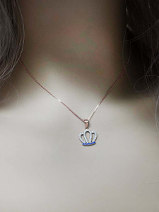 Solid Rose Gold Radiant Diamond & Sapphire Royal Crown Pendant Necklace