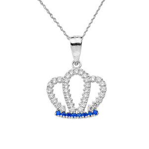 Solid White Gold Radiant Diamond & Sapphire Royal Crown Pendant Necklace