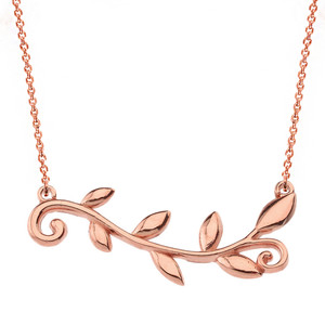 14k Solid Rose Gold Olive Branch Horizontal Necklace
