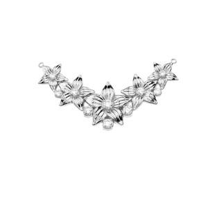 14K Elegant Diamond Flower Necklace in White Gold