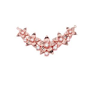 14K Elegant Cubic Zirconia Flower Necklace in Rose Gold