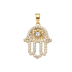 Chic Diamond & White Topaz Hamsa Pendant Necklace in Yellow Gold
