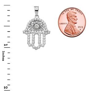 Chic White Topaz Hamsa Pendant Necklace in White Gold