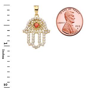 Chic Diamond & Genuine Garnet Hamsa Pendant Necklace in Yellow Gold