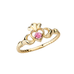 Yellow Gold Pink Solitaire & Promise  Open Heart Rope Claddagh Ring