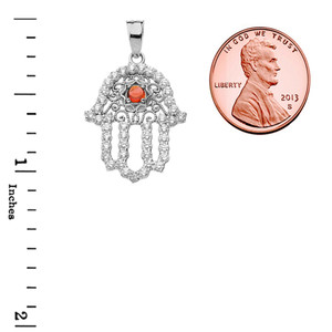 Chic Cubic Zirconia & Genuine Garnet Hamsa Pendant Necklace in White Gold