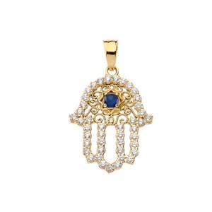 Chic Blue Sapphire Hamsa Pendant Necklace in  Yellow Gold