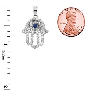 Chic Blue Sapphire Hamsa Pendant Necklace in White Gold