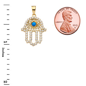 Chic Turquoise Hamsa Pendant Necklace in  Yellow Gold