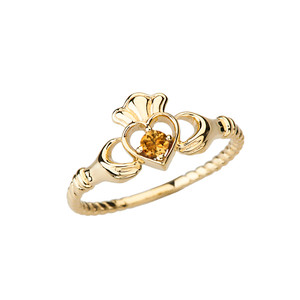 Yellow Gold Genuine Citrine Solitaire & Promise Open Heart Rope Claddagh Ring