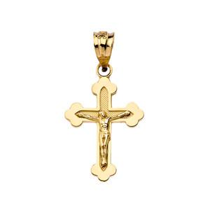 Dainty Greek Orthodox Crucifix Cross in Yellow Gold