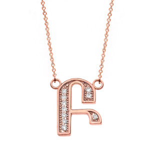 "14K Solid Rose Gold Armenian Alphabet Diamond Initial ""B"" or ""P"" Necklace"