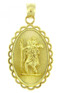 Gold Religious Pendants - The Saint Christopher Yellow Gold Pendant