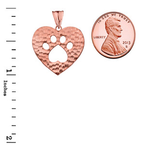 Cut-Out Paw Print in Heart Pendant Necklace in Rose Gold