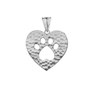 Cut-Out Paw Print in Heart Pendant Necklace in White Gold