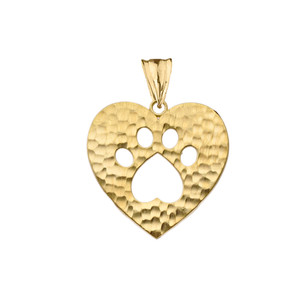 Cut-Out Paw Print in Heart Pendant Necklace in Yellow Gold