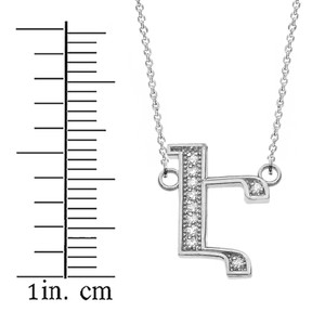 """14K Solid White Gold Armenian Alphabet Diamond Initial """"Eh"""" Necklace"""
