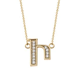 "14K Solid Yellow Gold Armenian Alphabet Diamond Initial ""I"" Necklace"