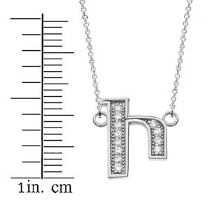 "14K Solid White Gold Armenian Alphabet Diamond Initial ""I"" Necklace"