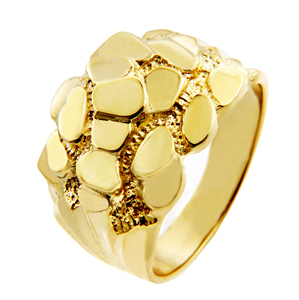 Men's Block Solid Gold Nugget Ring