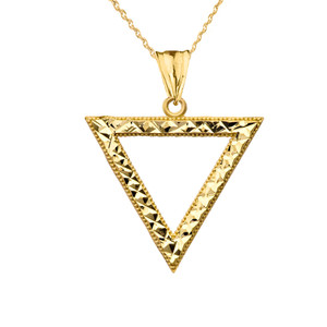 Chic Open Triangle Pendant Necklace in Yellow Gold