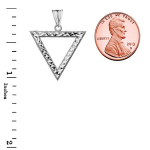 Chic Open Triangle Pendant Necklace in White Gold