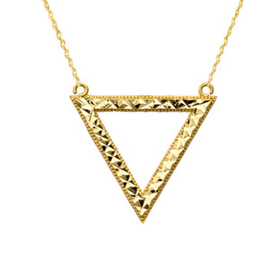 Chic Open Triangle Necklace in 14K Yellow Gold