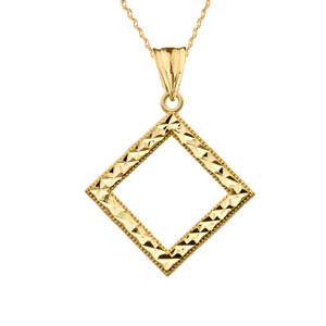 Chic Diamond Shape Pendant Necklace in Yellow Gold