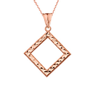 Chic Diamond Shape Pendant Necklace in Rose Gold