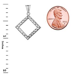 Chic Diamond Shape Pendant Necklace in White Gold