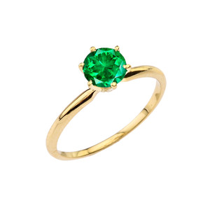 Yellow Gold (LCE) Emerald  Dainty Solitaire Engagement Ring