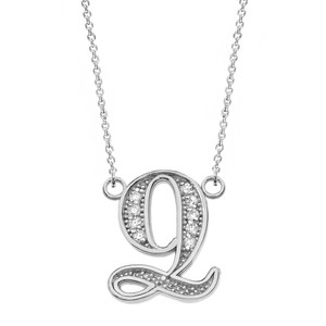 """14K Solid White Gold Armenian Alphabet Diamond Initial """"Ts"""" or """"Dz"""" Necklace"""