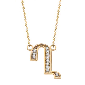 "14K Solid Yellow Gold Armenian Alphabet Diamond Initial ""Gh"" Necklace"