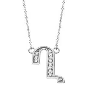 "14K Solid White Gold Armenian Alphabet Diamond Initial ""Gh"" Necklace"