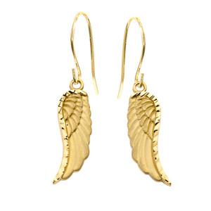 Dangling Angel Wing Earrings in Yellow Gold