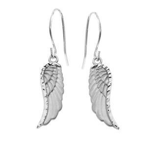 Dangling Angel Wing Earrings in White Gold