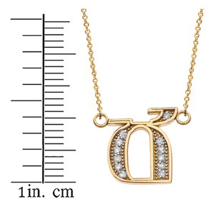 "14K Solid Yellow Gold Armenian Alphabet Diamond Initial ""Ch"" Necklace"