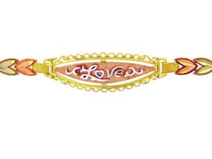 Tri-Color Gold Bracelet - The Fancy Love Diamond Cut Bracelet