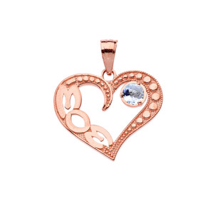 March Aquamarine (LC) 'MOM' Heart Pendant Necklace in Rose Gold