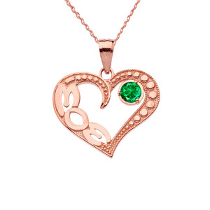 May Emerald (LC) 'MOM' Heart Pendant Necklace in Rose Gold