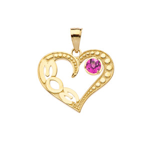 June Alexandrite (LC) 'MOM' Heart Pendant Necklace in Yellow Gold