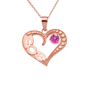 June Alexandrite (LC) 'MOM' Heart Pendant Necklace in Rose Gold